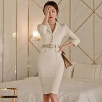 Elegant V neck Pencil Dress Women Belt Wear To Work Dresses Sheath Bodycon OL Business Midi Vestidos 2019 Spring