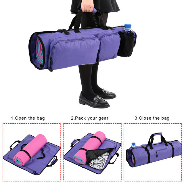 Yoga Mat Bag With Open Ends Mobile Pocket And Water Bottle Holder Sport Gym Bags