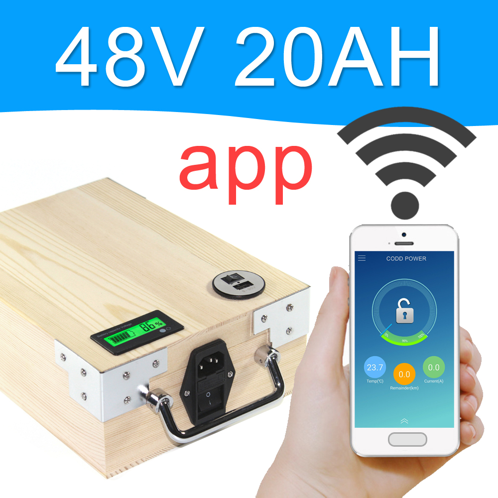 APP 48V 20AH Electric bike LiFePO4 Battery Pack Phone control Electric bicycle Scooter ebike Power 1000W Wood free shipping 48v 15ah battery pack lithium ion motor bike electric 48v scooters with 30a bms 2a charger