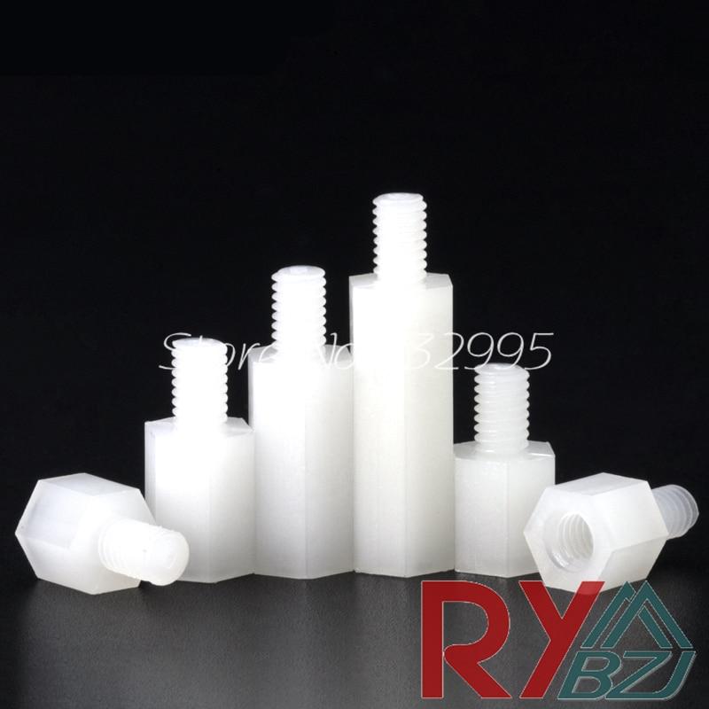 uxcell M5 Female Thread Nylon Hexagon Hex Nut Fastener Off-White 100PCS