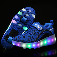 Новый Дети Кроссовки Мальчики Девочки Автоматическая LED Роликовые Коньки Ребенок Черный Светящиеся Кроссовки обувь на колесиках