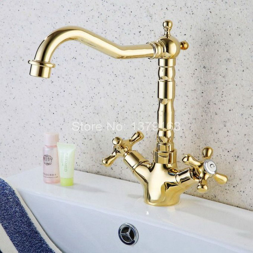 Gold Polished Brass Double Cross Handles Swivel Spout Kitchen Sink Faucet Cold Hot Mixer Tap asf096