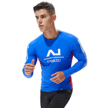 цена на Men's Swimming Tights Surfing T-shirts Blue Patchwork Rash Guard Rashguard Surf Tights Swimming Compression Long Sleeves T-shirt
