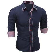 Brand 2018 Fashion Male Shirt Long-Sleeves Tops Simple Solid Color Hit Side Mens Dress Shirts Slim Men 3XL