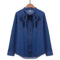 Cute Bowknot Design Denim Blouse Women Loose Long Shirt Jeans Tops Big Pockets Long Sleeve Blusas