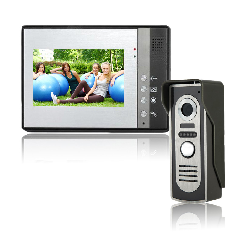 HD Cameras 7 inch Wired Video Door Phone Door Bell System Building intercom equipment Home Security indoor Intercom IR Cameras wireless service call bell system popular in restaurant ce passed 433 92mhz full equipment watch pager 1 watch 7 call button