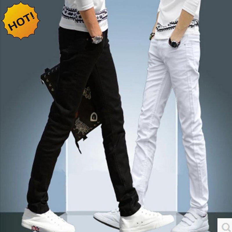 NEW 2018 indoor Business Man Black white Jeans Cotton Thin Students Straight Leisure Skinny Jeans men Boys Pants Denim 28-34