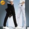 NOVO 2016 Homem de Negócios Preto branco interior Estudantes de Lazer Reta calças de Brim de Algodão Fino Jeans Skinny homens Calças Meninos Denim 28-34