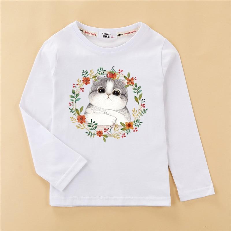 Fashion wreath kitten clothes children t-shirt girls tops long sleeve cotton tees girl cute print shirt 3