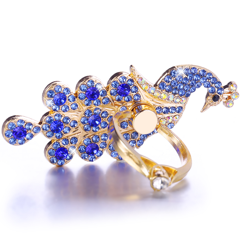 Luxury Diamond <font><b>360</b></font> Degree <font><b>Metal</b></font> <font><b>Finger</b></font> <font><b>Ring</b></font> <font><b>Holder</b></font> Peacock <font><b>Ring</b></font> for iPhone Samsung Galaxy A50 A60 A80 Huawei HTC LG Stand <font><b>Holder</b></font> image