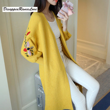Women Long Sweater Cardigan Fashion Autumn Winter Sleeve Loose Thick Knitted Sweaters Coats Pull Femme
