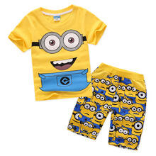 New Arrival Boys Summer Clothing Sets Yellow Minions Minion Boy T-shirt Shorts Tiny Cotton Breathable Washable age 2 Three four 5 6 7