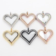 35mm crystals 316L stainless steel magnetic floating heart locket glass memory lockets