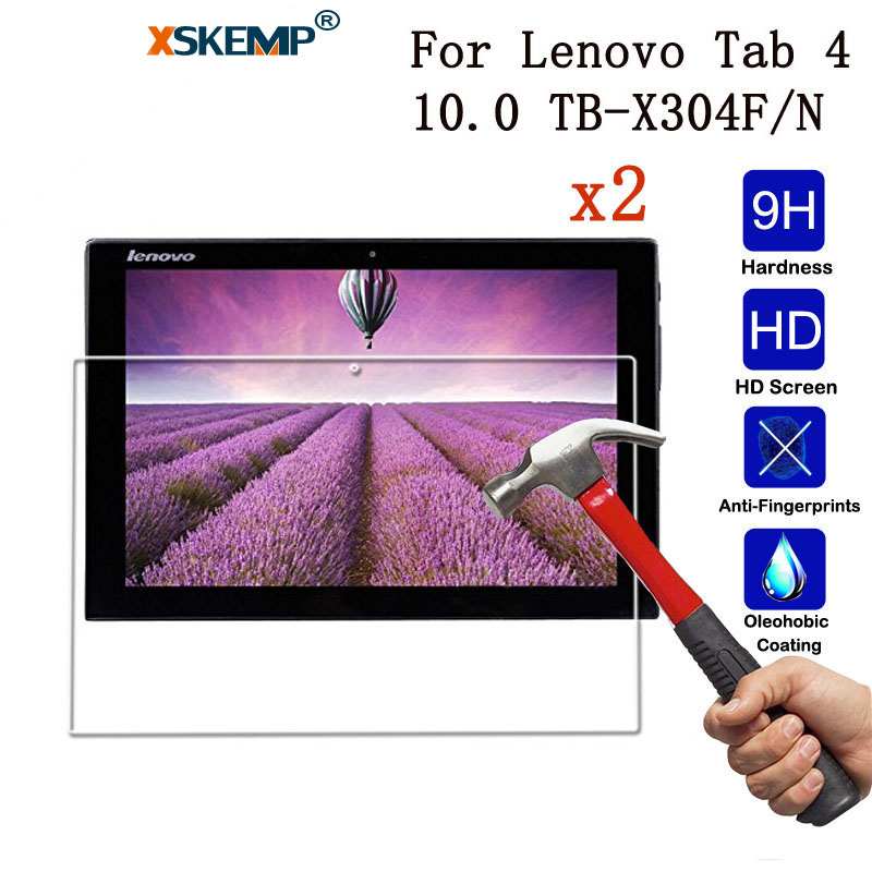 XSKEMP 2Pcs/Lot 9H Premium Tempered Glass For Lenovo Tab 4 10.0 TB-X304F/N Anti-Shatter Tablet Screen Protector Protective Film