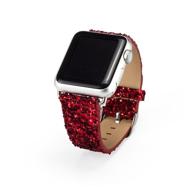 2016 novos lantejoulas moda watch band para apple watch shinning pulseira de couro para as mulheres eu assisto substituição oficial cores quentes venda