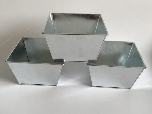 6Pcs/Lot D16*H10CM Tin Box Galvanized pots Square Metal Planter Cube Vintage Succulents Planter Iron