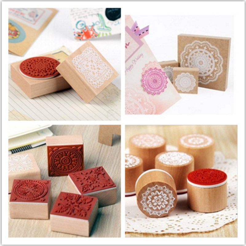 DIY Vintage Wood Craft Stamp Lace Flower Stamps for Diary Decoration Scrapbooking Korean Stationery Free shipping 10005 jwhcj vintage cat date wood roller stamps for children diy handmade scrapbook photo album diary book decoration students stamps