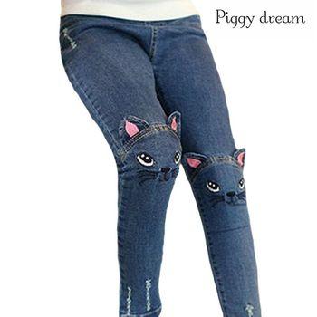 New Fashion Cartoon Cat Girls Jeans spring Autumn Girls Leggings Children Pencil Pants Kids Trousers Pantalon Fillette 1
