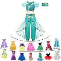 Необычные для маленьких девочек одежда принцессы для детей, жасмин, Рапунцель, Аврора, Белль Ариэль Косплэй, костюм для мальчиков и девочек ...