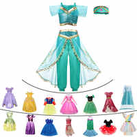 Fancy Baby Girl Princess Clothes Kid Jasmine Rapunzel Aurora Belle Ariel Cosplay Costume Child Elsa Anna Elena Sofia Party Dress