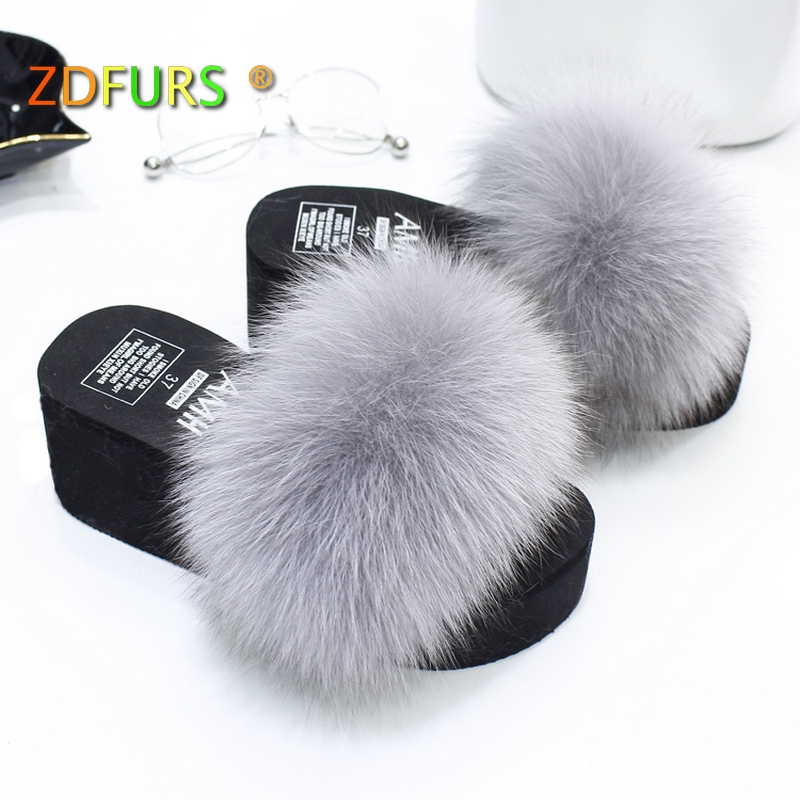 ZDFURS* 2018 New Patchwork Real Fox Fur Slippers Flip Flops Flat Soft Fur Sliders Slippers Wholesale 7CM Hight