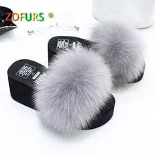 ZDFURS* 2018 New Patchwork Real Fox Fur Slippers Flip Flops Flat Soft Fur Sliders Slippers Wholesale 7CM hight