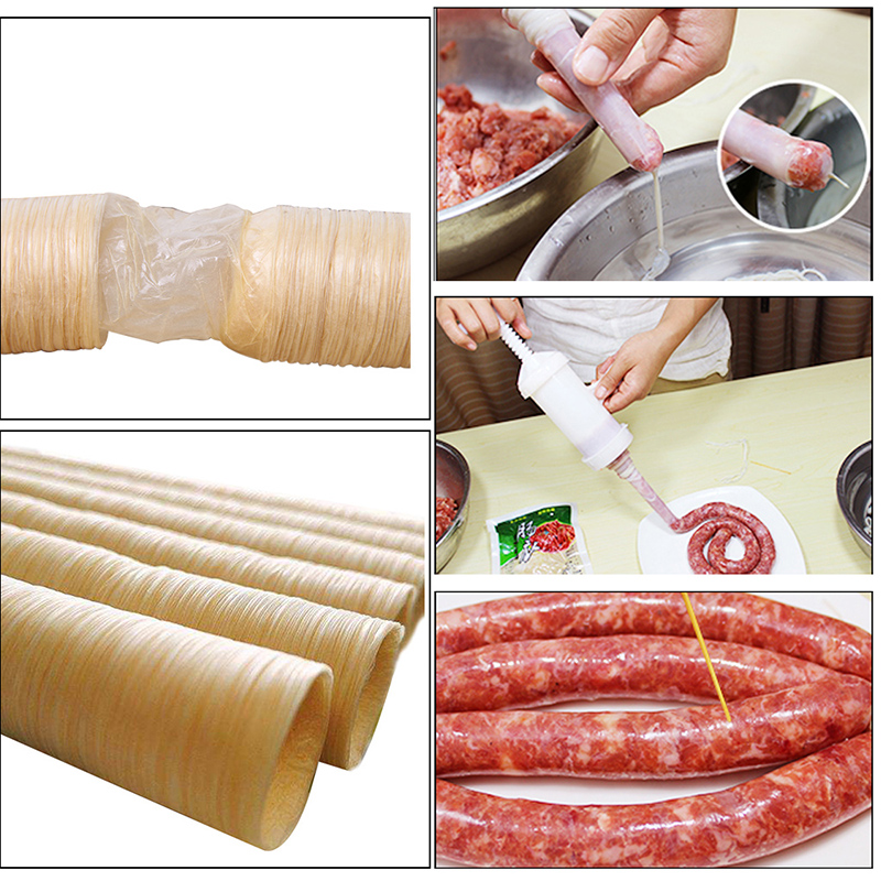 Urijk 26mm*14m Food Grade Dry Sausage Vegetarian Casing Shell Sausage Skin  Protein Meat Casing Skin For Hot Dog BBQ Gadgets