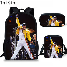 THIKIN Children School Bags Queen Band Bohemian Rhapsody Printing Large Shoulder Backpack 3Pcs/set Kids Custom Students Bookbags