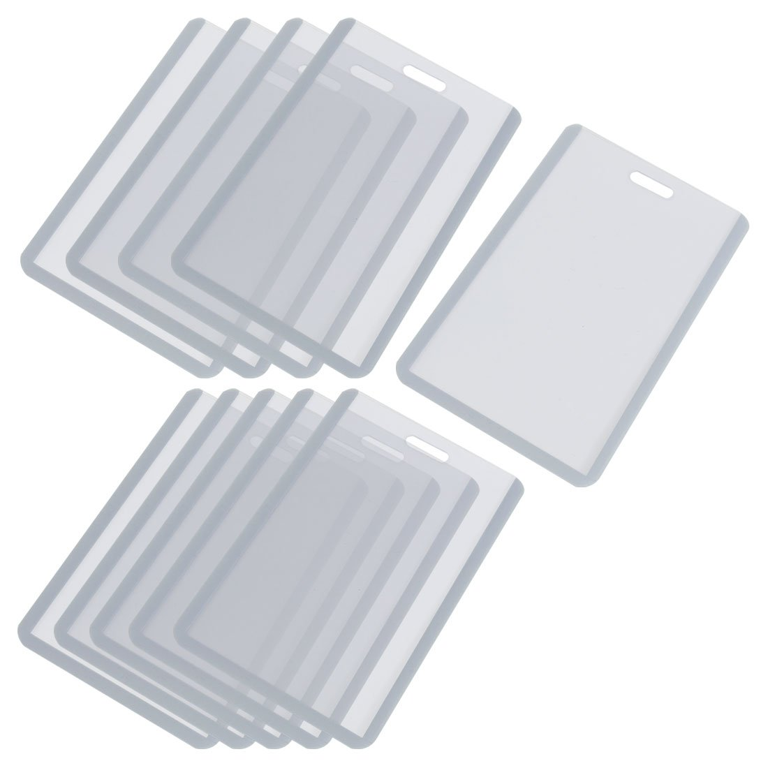 SOSW Vertical Business ID Badge Card Holder, 10 Pcs, Gray Clear-in ...