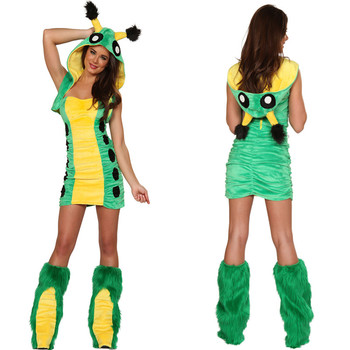 Animal Caterpil  Faux Fur Costume Women Halloween Fancy Party Dress Carnival Sexy Alice Caterpillr Cosplay 80640