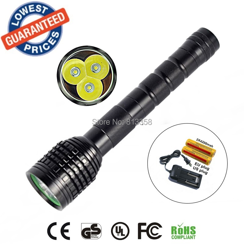 AloneFire HF3 3T6 Flashlight 3x CREE XM-L XML T6 LED Flashlight 18650 Battery Extendable High Power Torch+18650 battery+charger майка борцовка print bar dino gnar