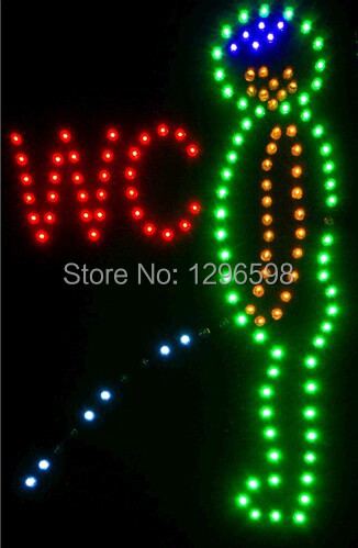 2017 hot sale customed low power 10X19 inch semi-outdoor Ultra Bright running led advertising display male wc sign