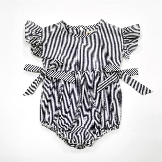 4ca0af8be Baby Girls Rompers Cotton Linen Infantil Clothes Summer Striped ...