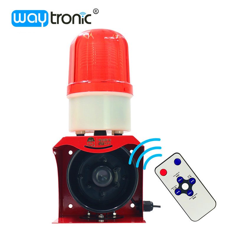 12V 24V 220V Industrial Horn Siren Emergency Sound and Light Alarm Red LED Flashing Strobe Warning Light with Remote Control ms 490 ac 110v 220v 150db motor driven air raid siren metal horn double industry boat alarm