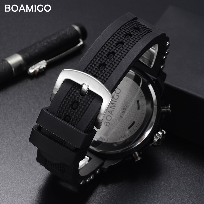 men watches BOAMIGO brand 3 time zone military sports watches male LED digital quartz wristwatches gift box relogio masculino 3