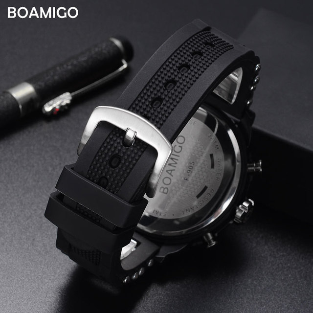 men watches BOAMIGO brand 3 time zone military sports watches male LED digital quartz wristwatches gift box relogio masculino 3