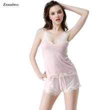 Zramiwo Cotton Pyjamas Short Women Modal Pajama Set Lace Camisole Soft Sleepwear Deep V Sexy Nightgown