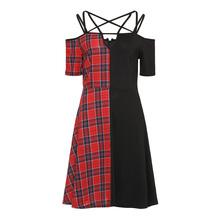 Rosetic Women Gothic Dress Vintage Red Plaid Patchwork Dresses Women Short Sleeve Halloween Holiday Sexy Women Party Chirstmas