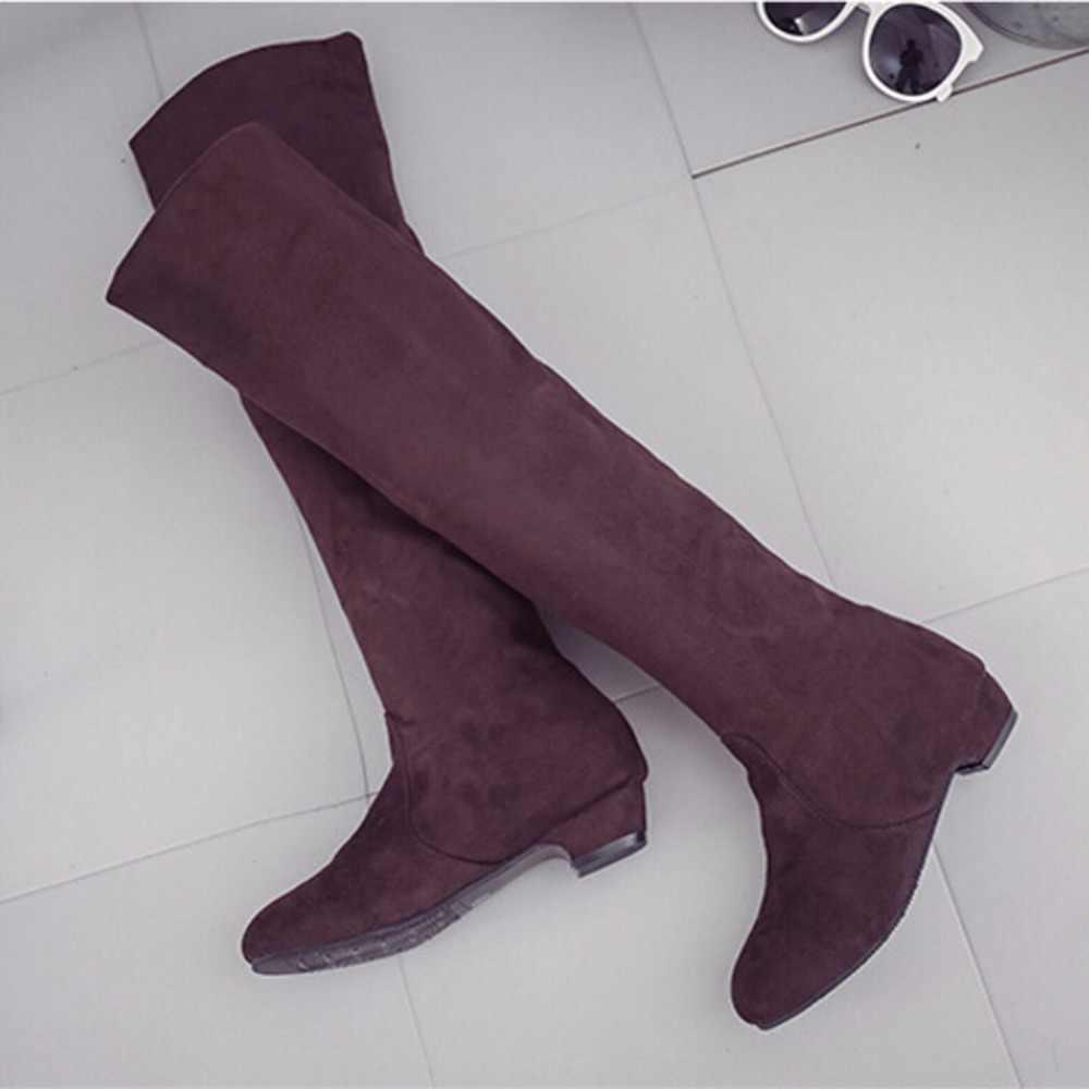 ผู้หญิงสูงรองเท้าแฟชั่นผู้หญิงเข่าสูงรองเท้าฤดูใบไม้ร่วงฤดูหนาว Bota Feminina ต้นขาสูงรองเท้า