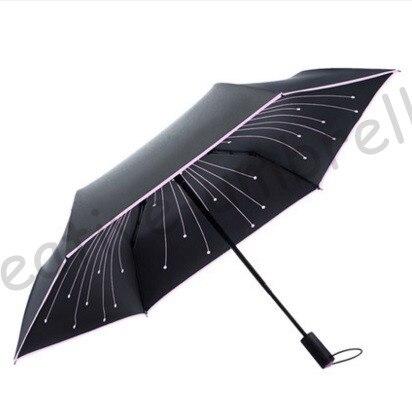 Auto ouvrir auto fermer 5 fois revêtement noir anti-UV bleu cristal pierre parapluie feux d'artifice note musicale cadeau réfléchissant parasol