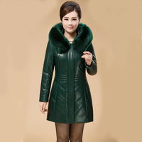 2019 New genuine sheep leather jacket long slim hooded winter jackets for women down padded thicken leather park women LA0092