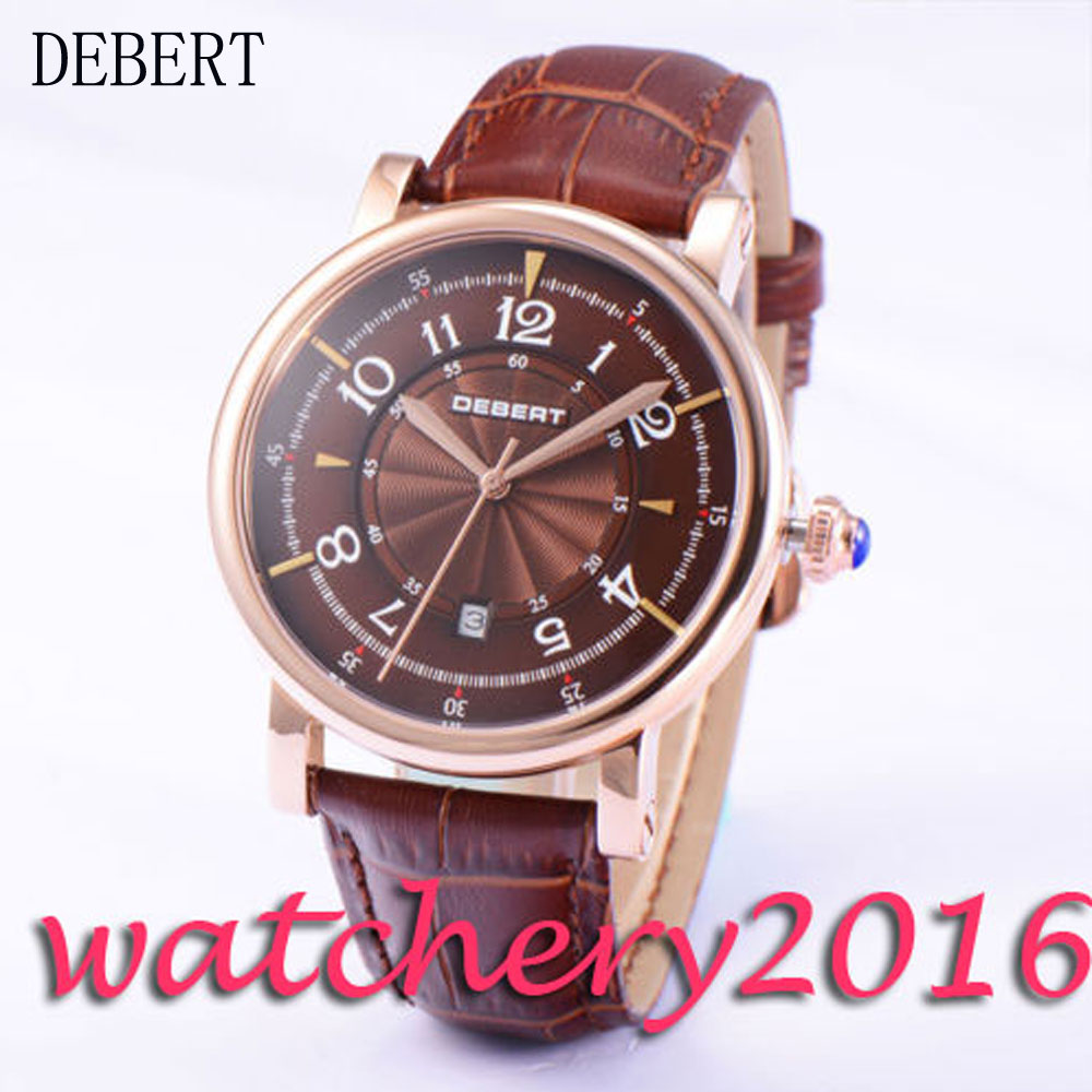 New 43mm Debert coffee dial rose golden coated 21 jewels miyota automatic movement Men's Watch 36mm debert golden dial 21 jewels miyota automatic diamond mens watch d11