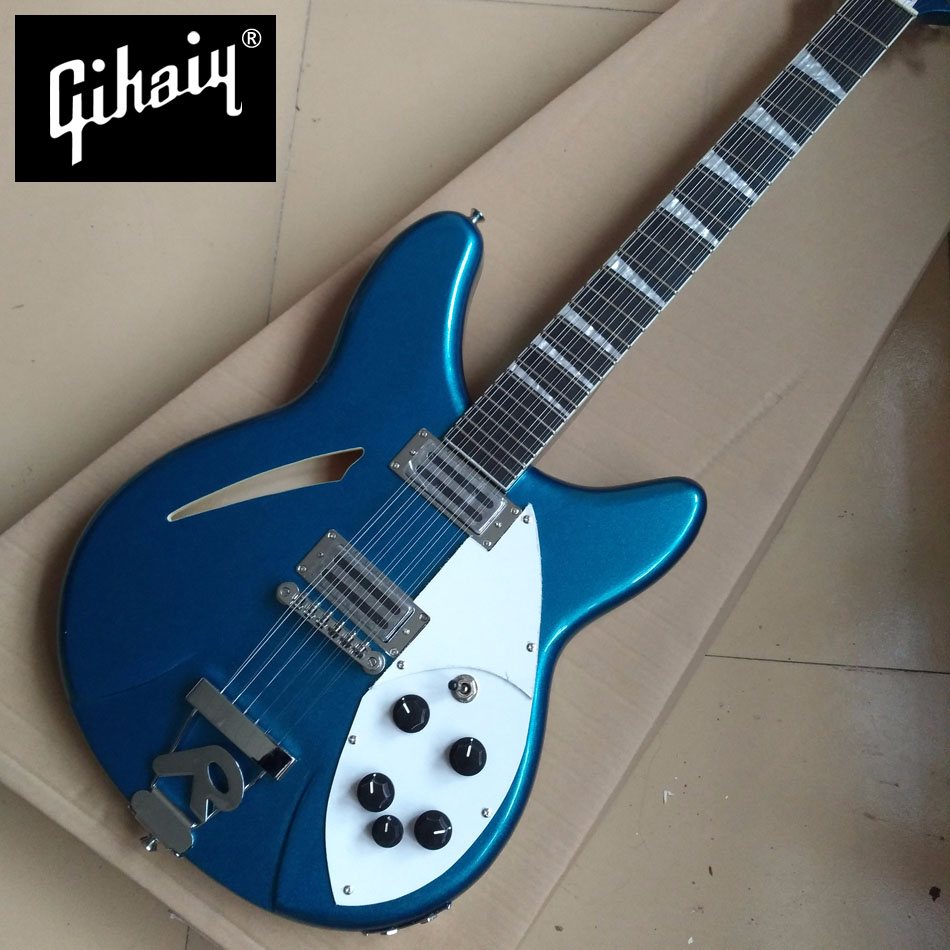 New style high quality custom 12 strings electric bass guitar, ebony fingerboard metallic blue electric guitar, free shipping high quality custom shop lp jazz hollow body electric guitar vibrato system rosewood fingerboard mahogany body guitar