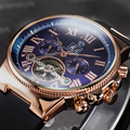 Спортивные часы FORSINING  с резиновой лентой  с корпусом из розового золота  Tourbillion  дизайнерские мужские автоматические механические часы  луч...