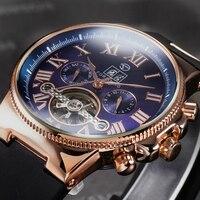 FORSINING Rubber Band Sport Watches Rose Gold Case Tourbillion Designer Watch Male Automatic Mechanical Mens Watch