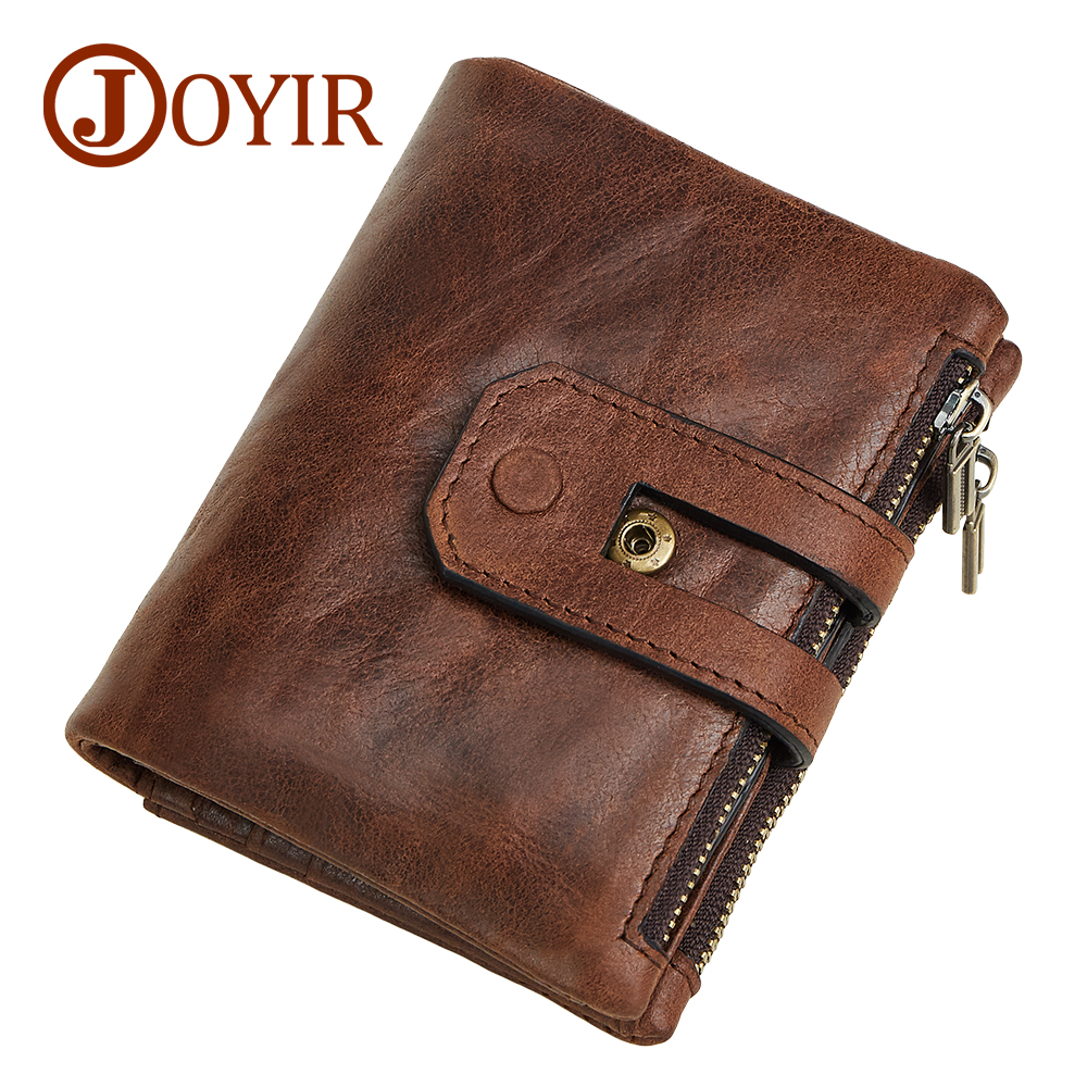 JOYIR Genuine Leather Men Rfid Wallet Small Men Clutch Wallet Zipper&Hasp Male Portomonee Short Coin Purse Brand Perse Carteira joyir wallet women men leather genuine vintage coin purse zipper men wallets small perse solid rfid card holder carteira hombre