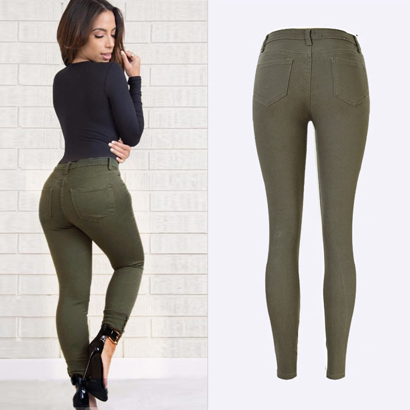 Spring 2018 Fashion Femme Denim jeans High Waist Army Green Trousers - Women's Clothing - Photo 3