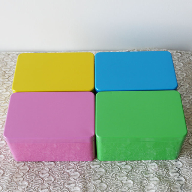 free shipping  yellow / blue / pink / green chromatic cuboid tin box (95mm*111mm*172mm) gift storage box