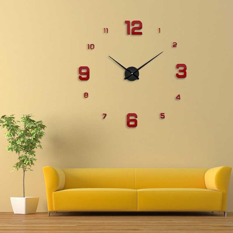 を Freeshipping 2019 新ホームデコレーションビッグミラー壁時計モダンなデザイン 3D DIY 大型装飾的な壁時計ユニークなギフト