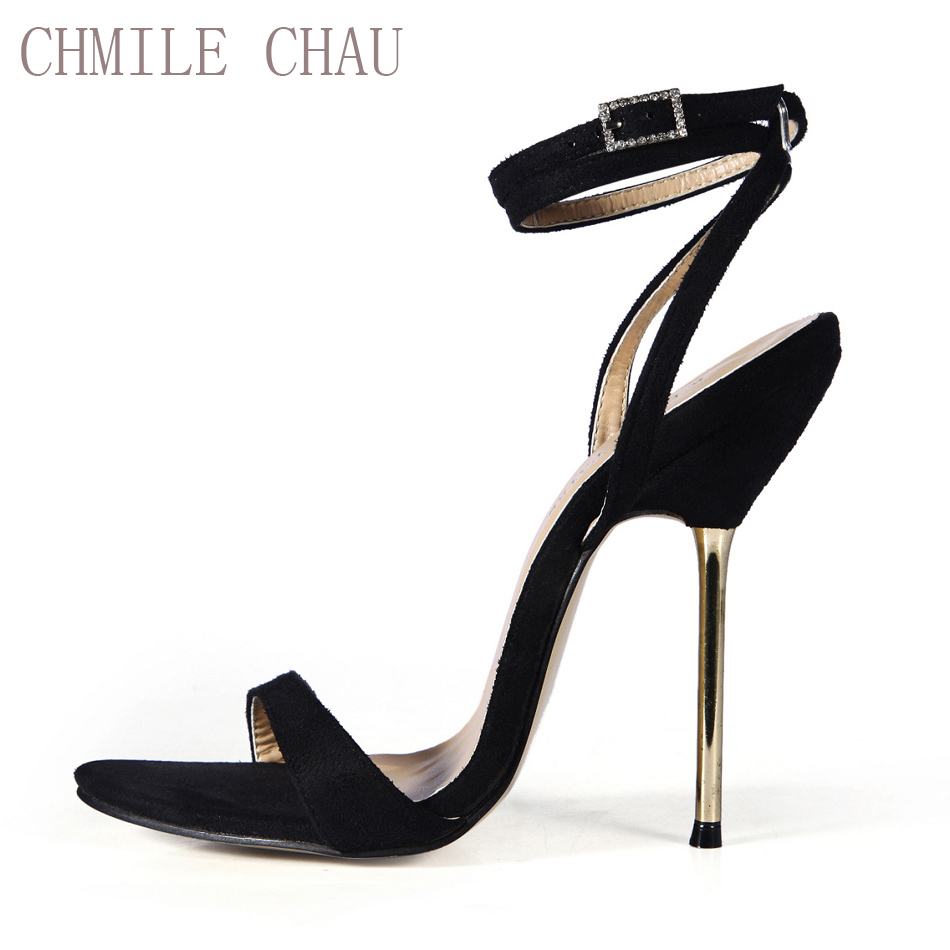 CHMILE CHAU Sexy Suede Party Shoe Women Stiletto High Metal Heels Ankle Strap Lady Sandals Plus Sizes 10.5 Zapatos Mujer 3845-i5 roman style women stiletto crystal heel gladiator sandals tassel transparent heels pumps sexy lady party shoe escarpins xk050506